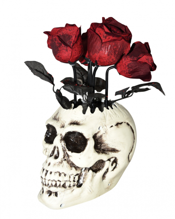 Skull Vase With Wilting Roses Animatronic