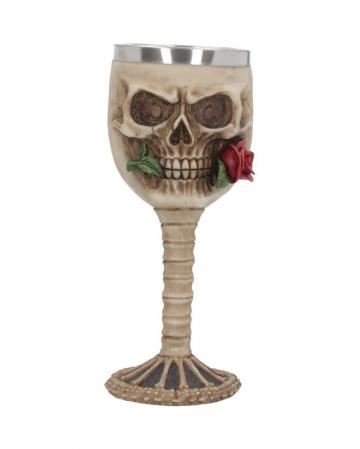 Totenschädelkelch mit Rose