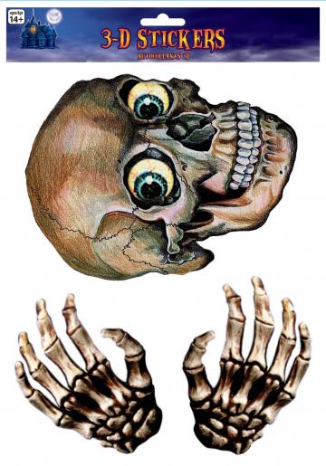 Totenkopf & Skelett Hände Fensterfolie