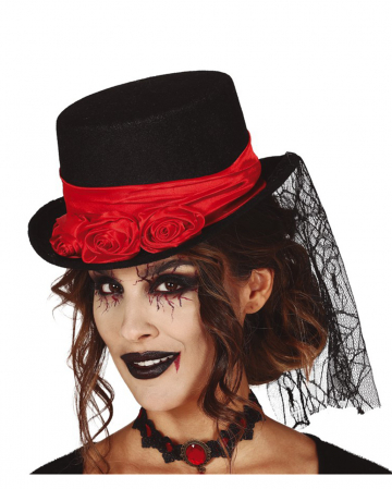 Vampire Top Hat With Roses & Lace Veil