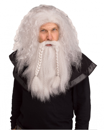 Viking Wig With Beard Grey