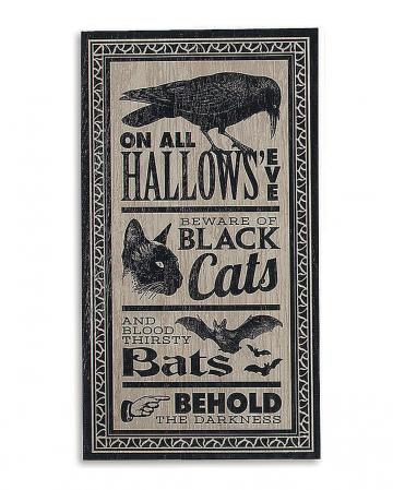 "Antikes Halloween Schild ""Hallows Eve"" 46x24cm"