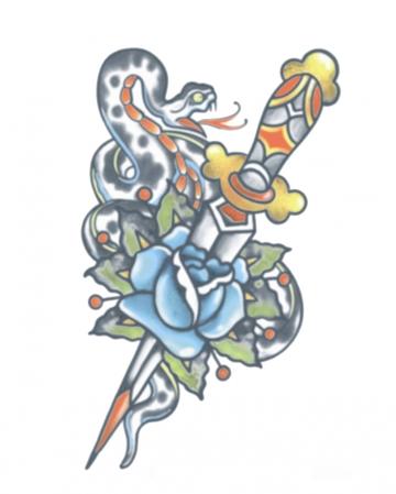Vintage Tattoo mit Dolch & Schlange zum Aufkleben