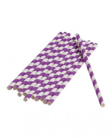 12 Papier Trinkhalme Violett Weiß