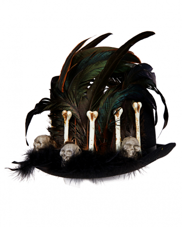 Voodoo Hat With Feathers And Bones