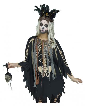 Kostümponcho Voodoo Skelett