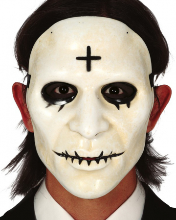 White PVC Mask With Cross
