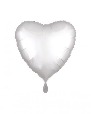 Weißer Satin Herz Folienballon