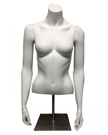 Weiblicher Schaufenster Oberkörper Weiß mit Ständer