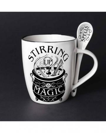 Weiße Tasse mit Löffel Stirring Up Magic