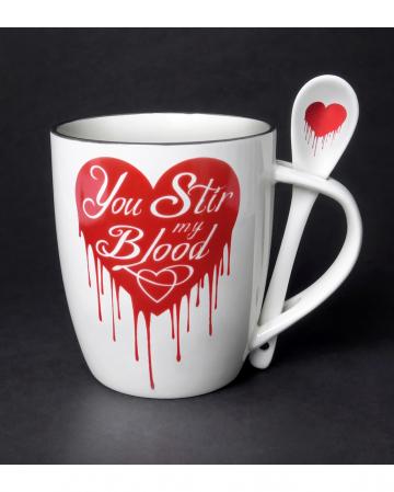 Weiße Tasse mit Löffel You Stir my Blood