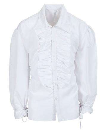 Weißes Herrenhemd mit Rüschen & Knöpfen
