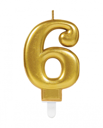 Number Candle 6 Metallic Gold