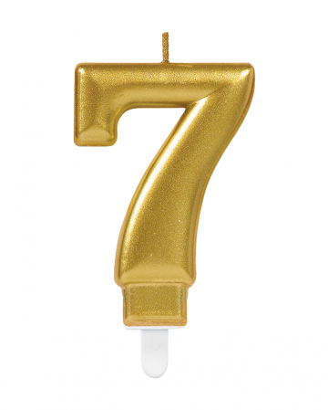 Metallic Zahlenkerze 7 Gold