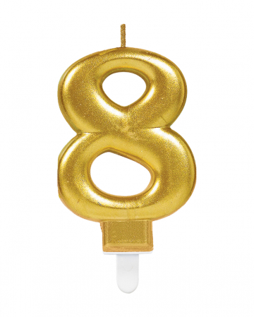 Number Candle 8 Metallic Gold