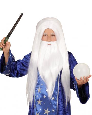 Magier Perücke mit Bart Weiß für Kinder