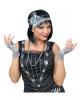 20's Flapper Costume Set Silver 6 Pcs