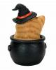 Halloween Katze im Hexenkessel 15cm