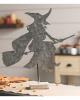 Hexe mit Besen Tischdeko aus Metall