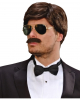 Playboy Men's Wig With Moustache Brown