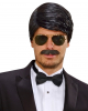Playboy Mens Wig With Mustache Black