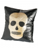 Skull Flip Sequined Cushion Black Gold