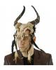 Voodoo Totenschädel Bison Maske mit Federschmuck