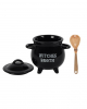 Witch Cauldron With Spoon As Soup Bowl