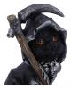 Schwarzes Hexenkätzchen mit Sense 10,2cm
