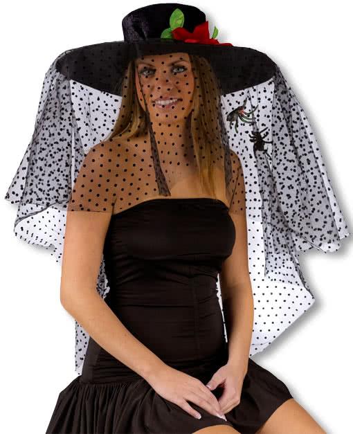 schwarzer witwen hut mit schleier witwen hut witwen kost m hut mit trauerschleier karneval. Black Bedroom Furniture Sets. Home Design Ideas
