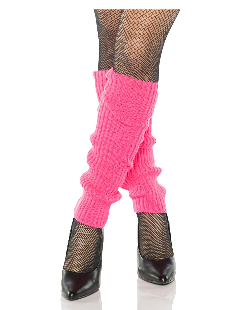 NEON 80s 1980s FANCY DRESS DANCE GYM HEN RIBBED LEGWARMERS BRIGHT FUSCHIA PINK