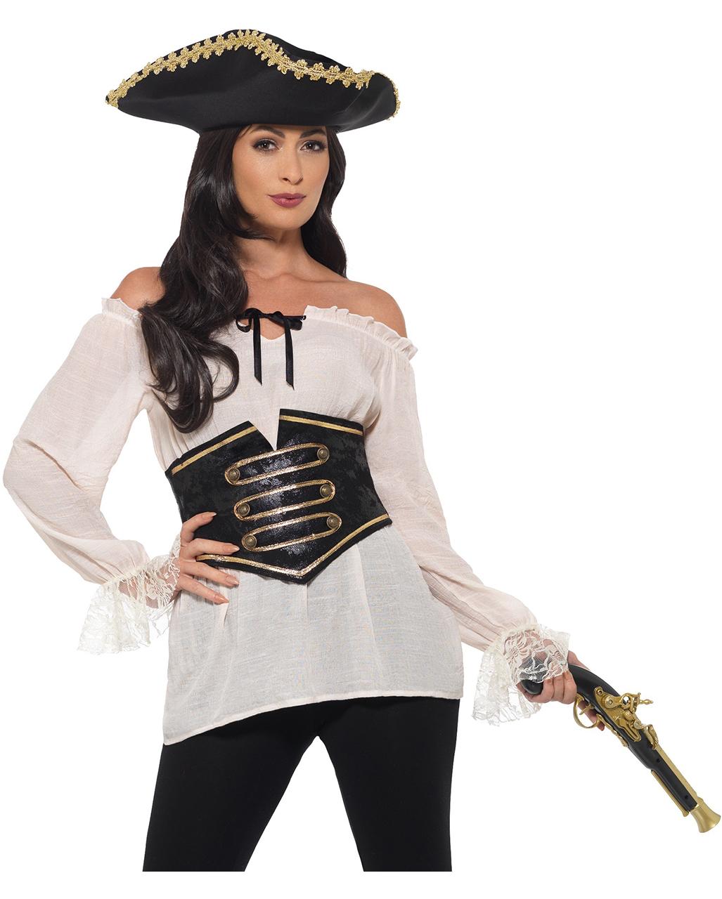 Damen Piraten Bluse mit Corsage Deluxe