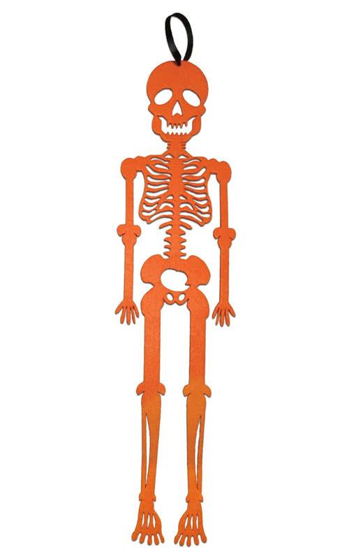 H nge skelett aus orangenem filz dekoration f r die for Filz dekoration