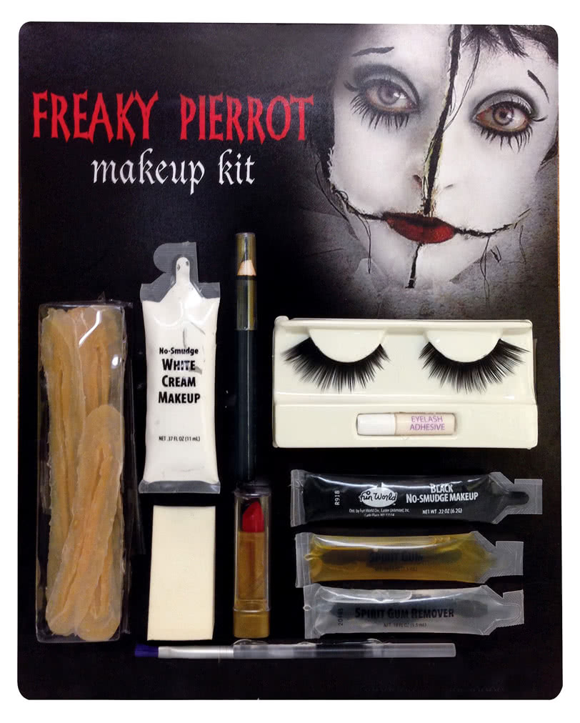 horror pierrot make up kit grusel clown schminkset online bestellen karneval universe. Black Bedroom Furniture Sets. Home Design Ideas