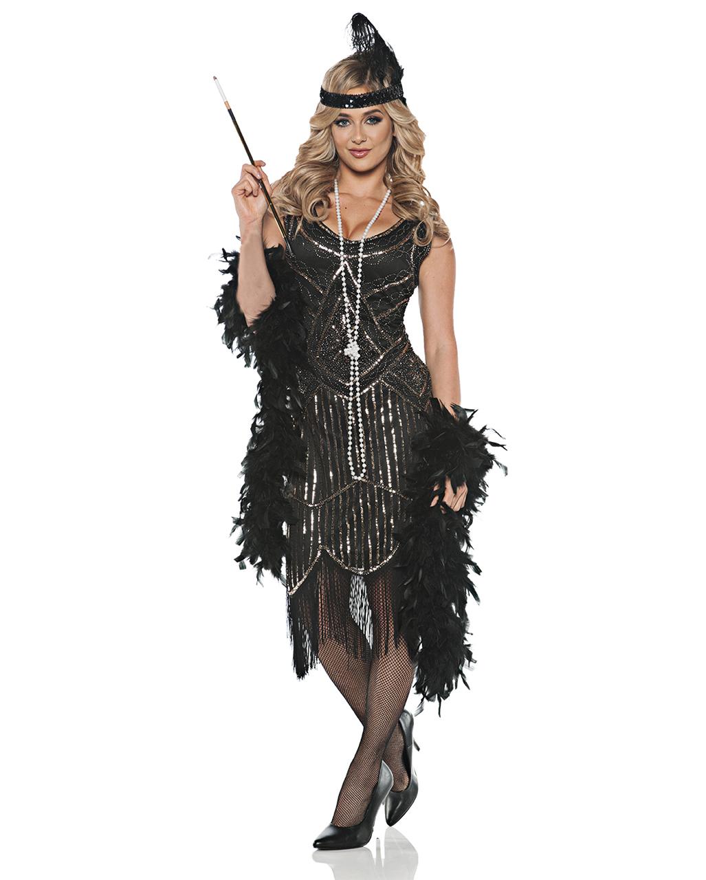 Charleston Kleid schwarz-silber Gr 36-46 Kostüm 20er Jahre Fasching