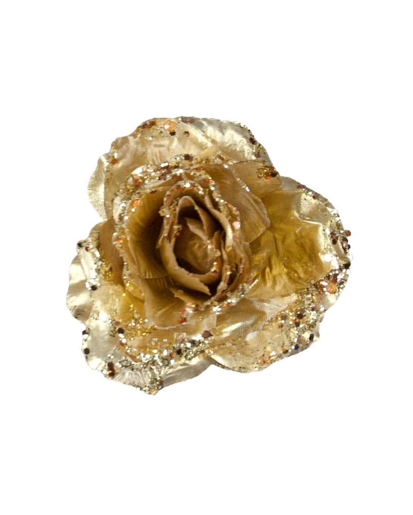 Glitzer deko rose mit clip gold funkelnd goldene for Rosegold deko