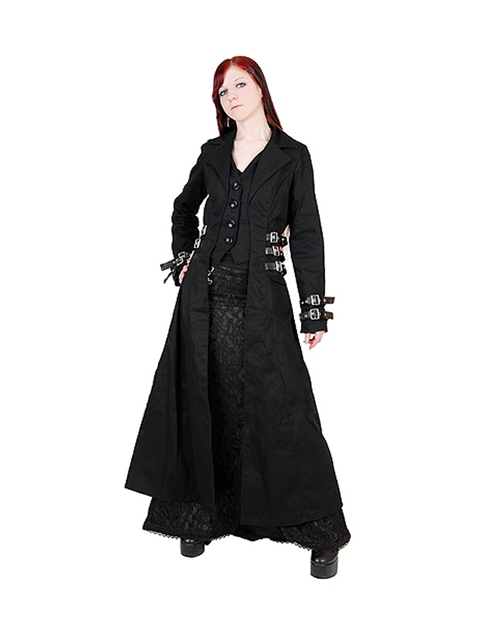 damen mantel mit schnallen als gothic mode karneval universe. Black Bedroom Furniture Sets. Home Design Ideas
