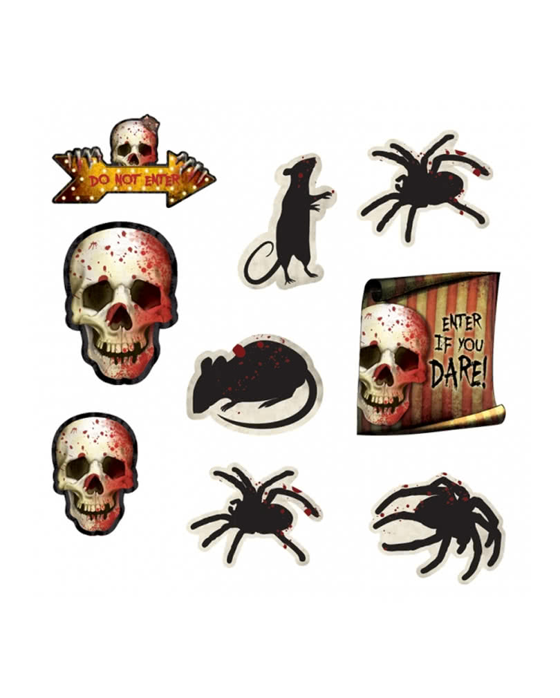 spooky halloween dekoration 12 teilig preiswerte halloween deko karneval universe. Black Bedroom Furniture Sets. Home Design Ideas