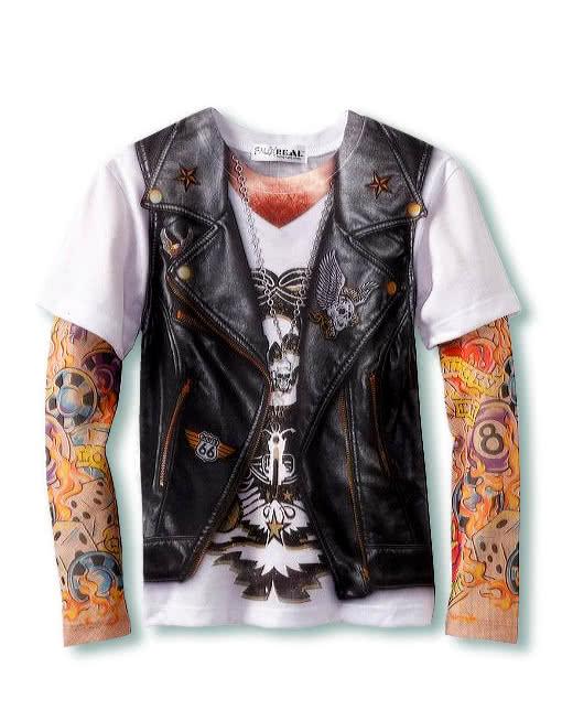 herren tattoo shirt gangster hemd biker shirt rocker weste karneval universe. Black Bedroom Furniture Sets. Home Design Ideas