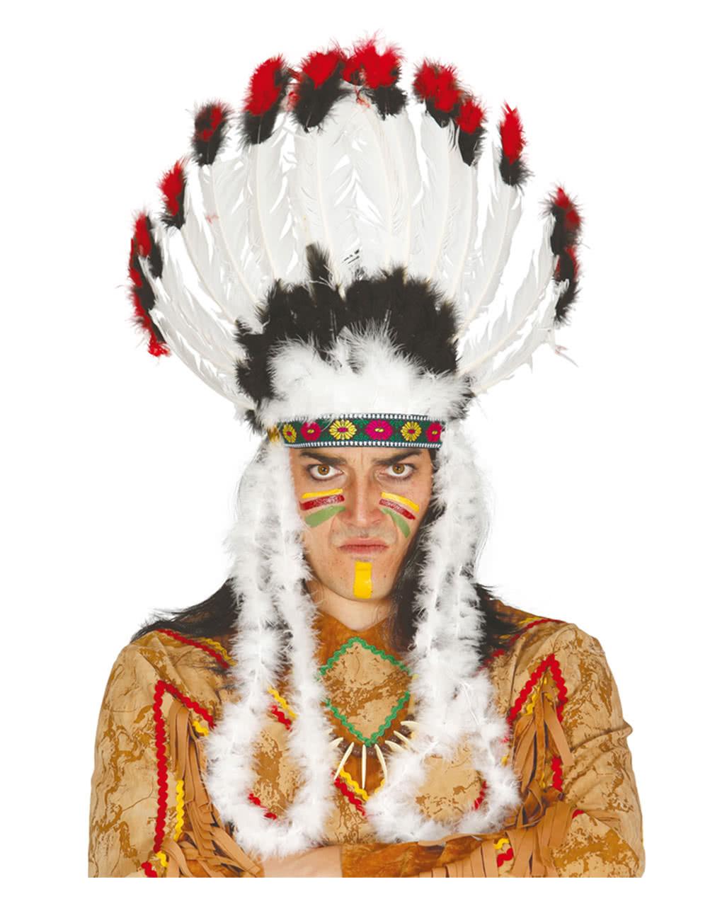 indianer kopfschmuck mit federn kopfbedeckung f r h uptlinge karneval universe. Black Bedroom Furniture Sets. Home Design Ideas