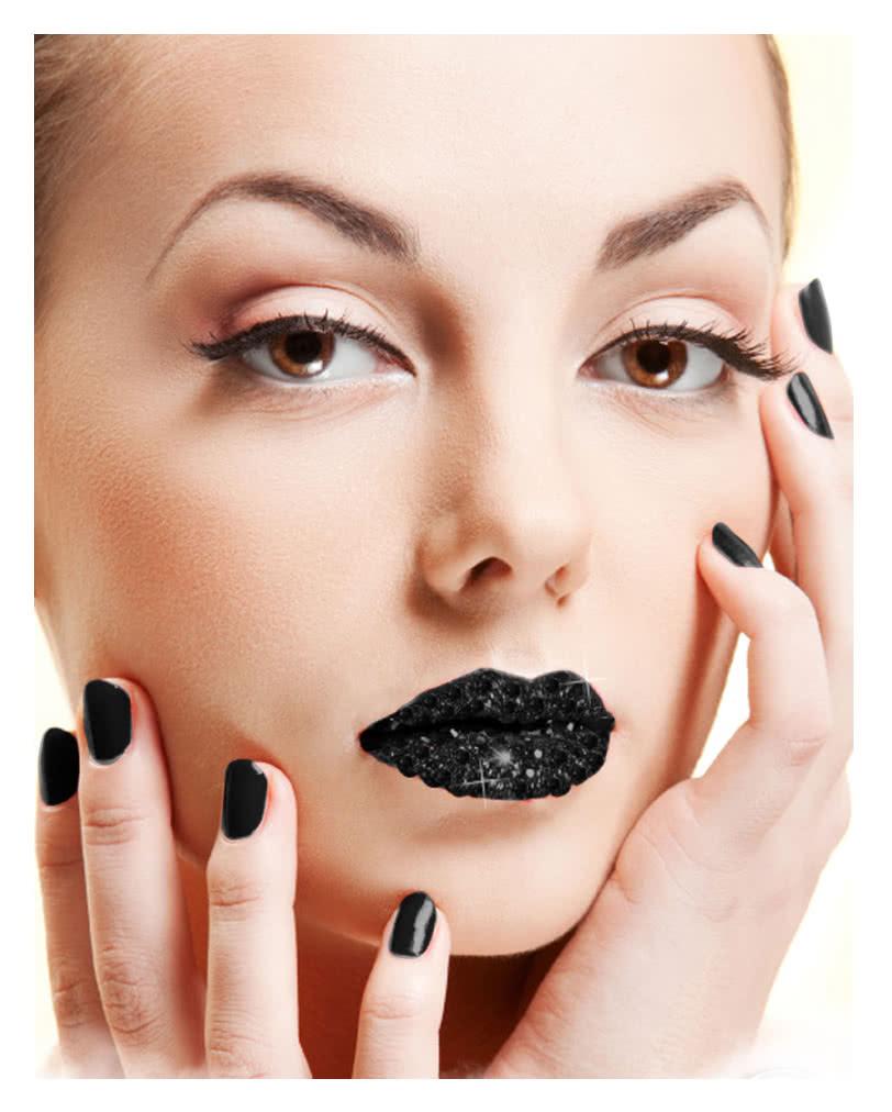lippen aufkleber schwarz glitzer lippen sticker karneval. Black Bedroom Furniture Sets. Home Design Ideas