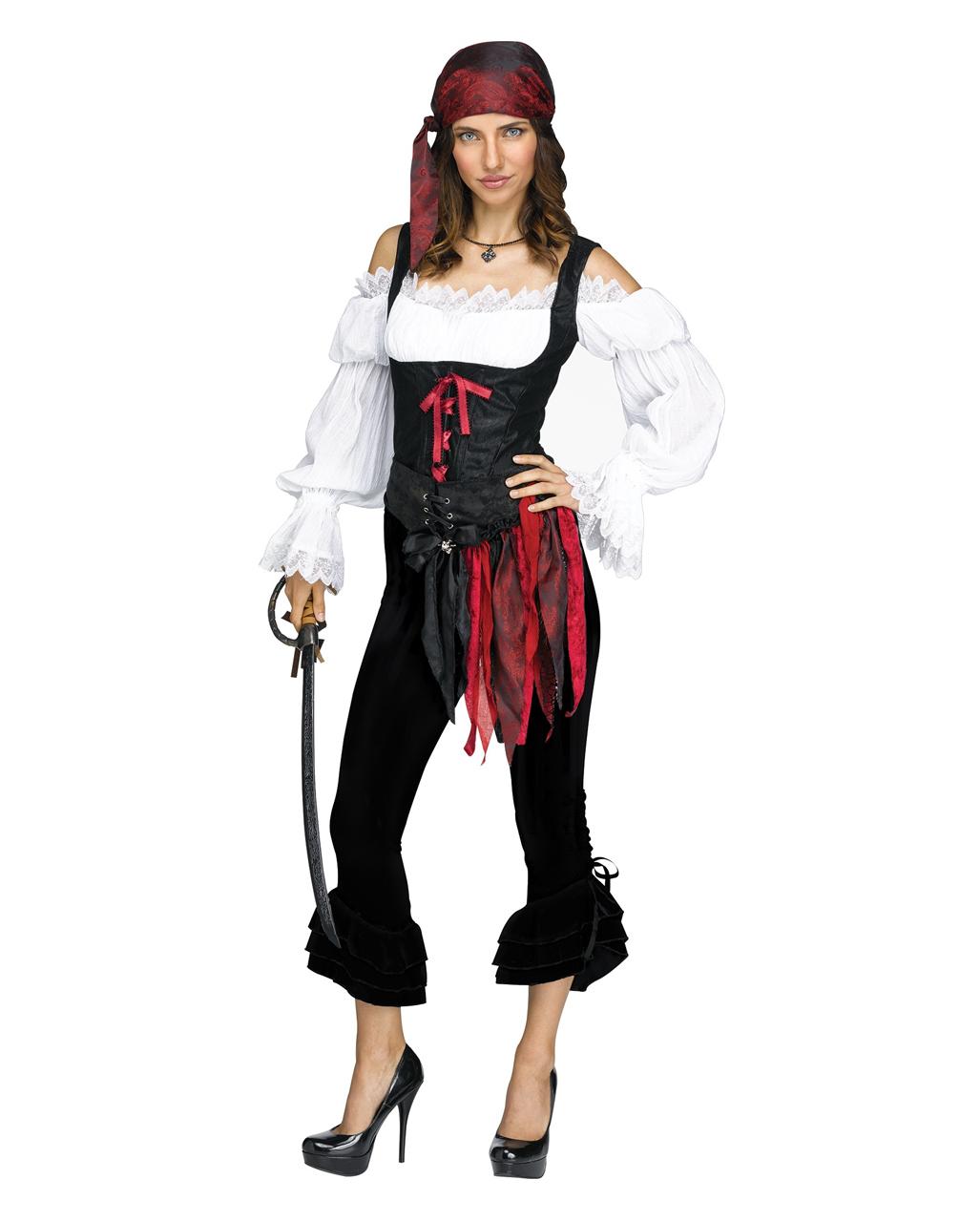 Piratin Piraten Damen Piratenbraut Fasching Karneval Kostüm Seeräuberin schwarz