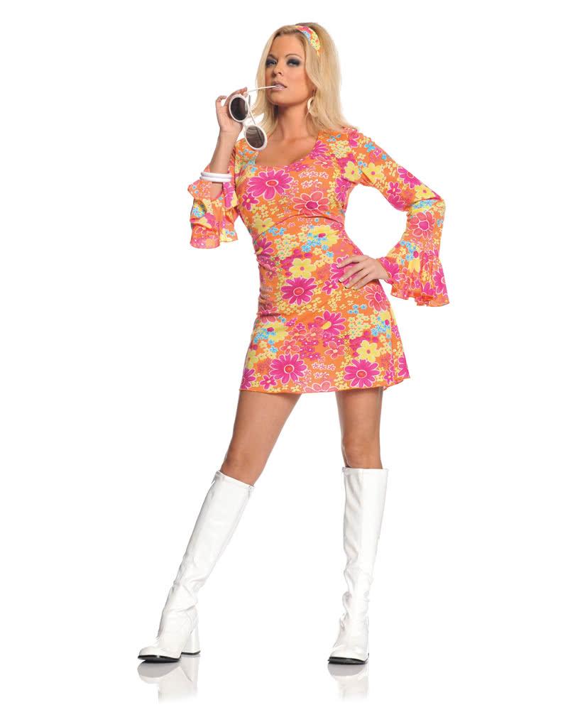 hippie mini kleid gebl mt large hippiekost m mit blumenmuster karneval universe. Black Bedroom Furniture Sets. Home Design Ideas