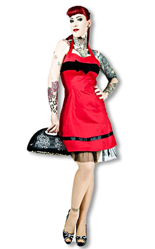 50er jahre kleid rot rotes neckholderkleid rockabilly style 50er jahre karneval universe. Black Bedroom Furniture Sets. Home Design Ideas