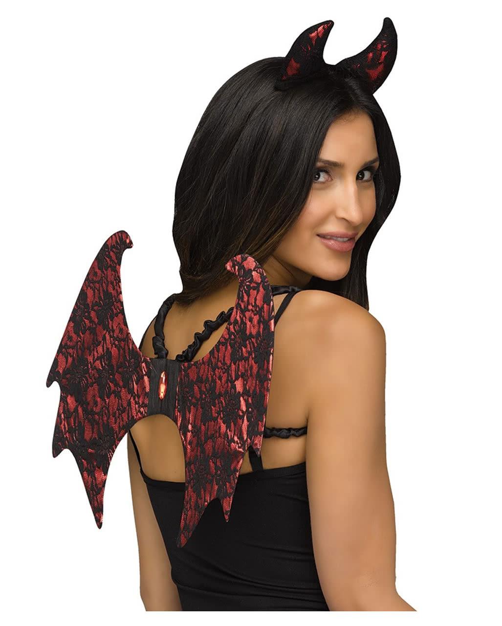 Set Teufel mit Hörner Dreizack Schwanz Halloween Outfit Teufelsgabel Kostümset