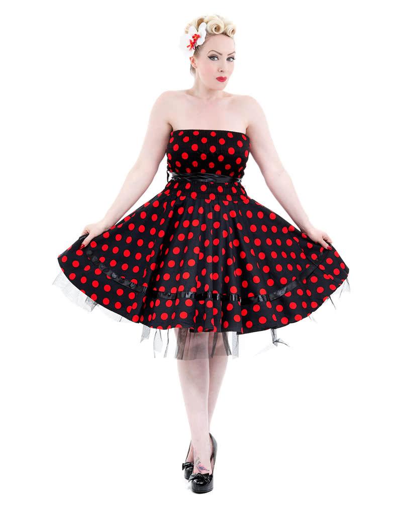 50er jahre bandeau kleid polka dot kleid petticoat. Black Bedroom Furniture Sets. Home Design Ideas