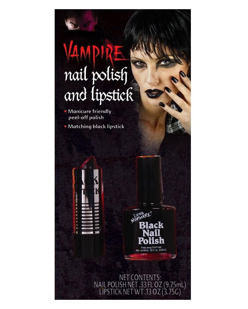 schwarzer nagellack lippenstift geheimnisvoller gothic look f r halloween karneval universe. Black Bedroom Furniture Sets. Home Design Ideas