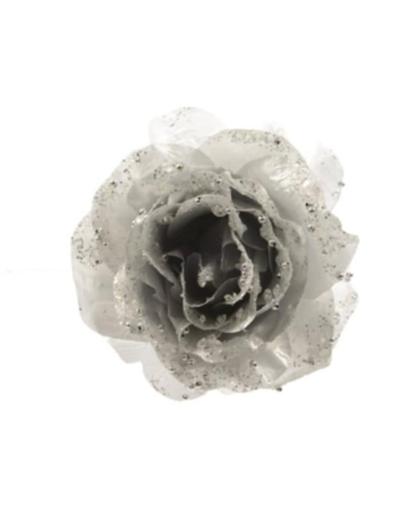 glitzer deko rose mit clip silber funkelnde dekobl te