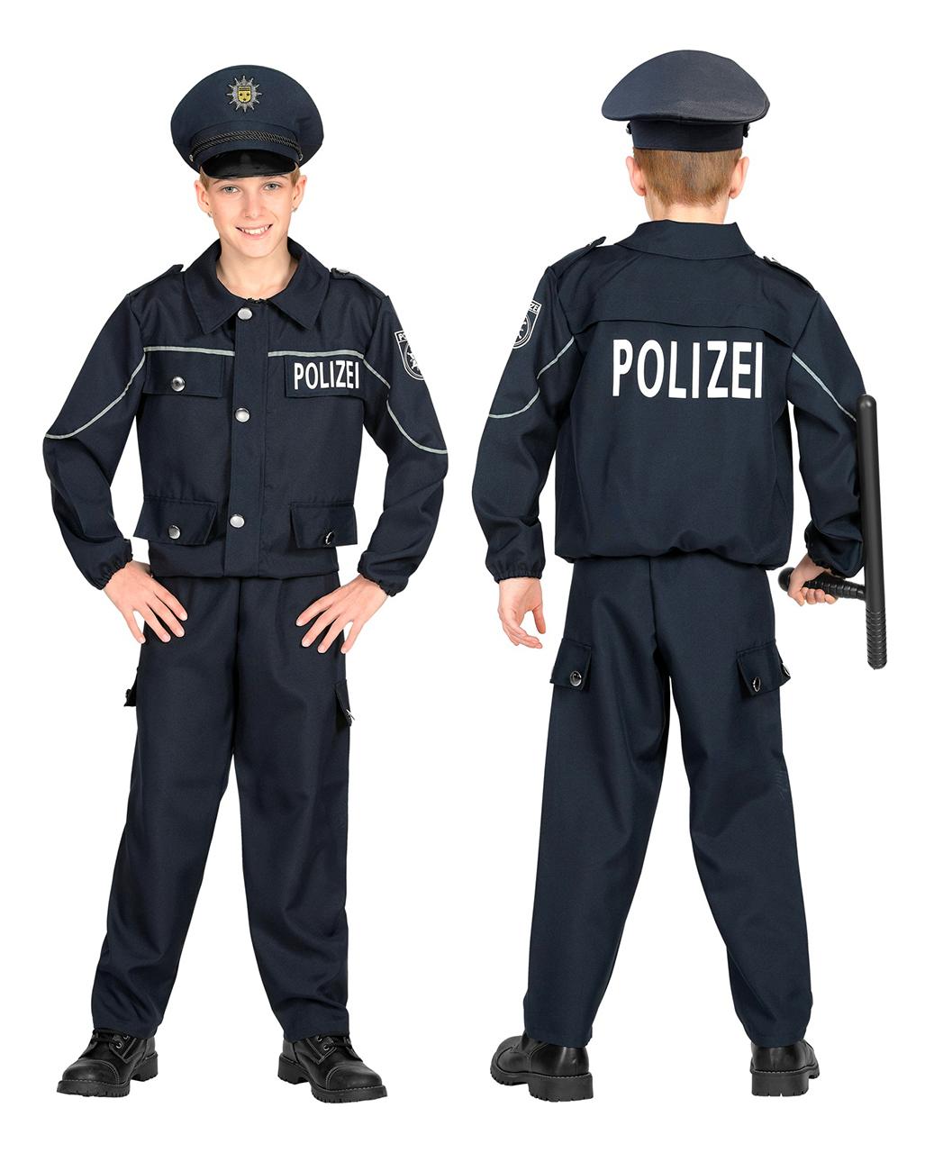NEU Jungen Karneval Fasching Police Officer Polizist Polizei Kinder Kostüm