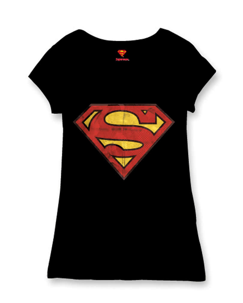 superman logo damen t shirt f r weibliche superhelden fans. Black Bedroom Furniture Sets. Home Design Ideas